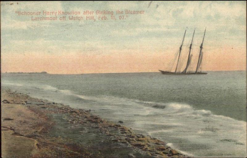 Shipwreck Ship Wreck Schooner Harry Knowlton After Sinking Steamer Larchmont