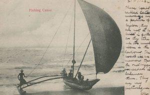 Ceylon Indian 1904 Fishing Canoe Boat Postcard
