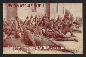 Soldiers Encamped Custom House Veracruz Mexico Unused c1914