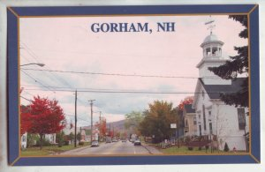 P1193 vintage postcard unused street scene gorham new hampshire
