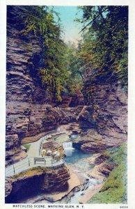 NY, Matchless Scene, Watkins Glen, New York Prelinen Postcard