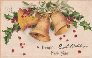 New Year Gold Bell and Holly Signed Clapsaddle 1909