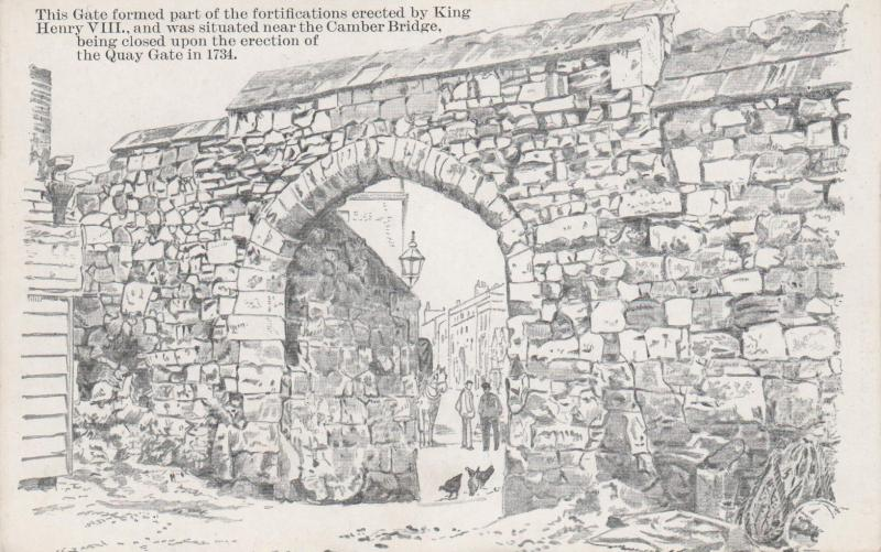 Wall and Gate of Old Portsmouth, England - Drawing - Unused