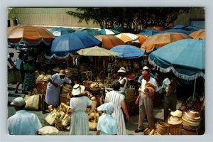 Nassau- Caribbean, Native Outdoor Markets in Center of Town, Chrome Postcard