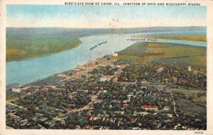 Cairo Illinois birds eye view Ohio and Mississippi Rivers antique pc Z41429