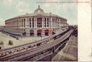 PRE-1907 SOUTH UNION STATION DEWEY SQUARE BOSTON, MA  a glitter card