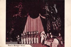 Rose's Midget Revue~Band on Stage~Giant Lady Holds Curtain~1940s B&W Postcard