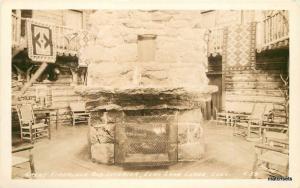 1940s Great Fireplace Interior Echo Lake Lodge Colorado Sanborn RPPC 7120