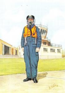 RAF Art Postcard Aircrew Clothing 1918-1988, 1950s-60s The Early Jet Era #12-5