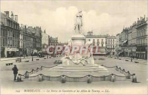 Postcard Old Statue Bordeaux Gambetta and the Allees de Tourny