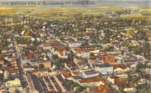 C55/ Harrisonburg Virginia Va Postcard Linen Birdseye View Homes Church Stores