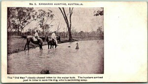 AUSTRALIA Postcard No. 2 KANGAROO HUNTING Hunters Dog c1900s Unused