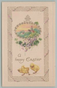 Easter~Houses~Trees~In Small Oval Window~Clover~Chicks Play~Gold Leaf~Germany