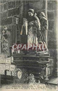Old Postcard Treguier Cotes North Church Minihy Statue of Saint Yves