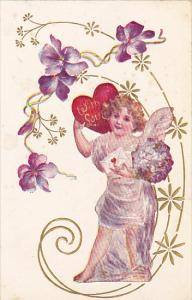 Valentine's Day Angel With Letter and Red Heart