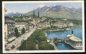 Switzerland Lucerne Postcard Vintage Luzern und Rigi c 1915