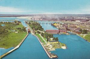 Aerial View, Intenational Bridge, Soo Locks, Lake Superior, Algoma Steel Corp...