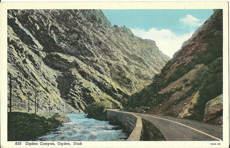 POSTCARD OGDEN CANYON 1943? ONE CENT POSTAGE UTAH POSTCARD