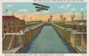 Michigan Soo View Taken From Bow Of Boat Entering Davis Lock 1949 Curteich