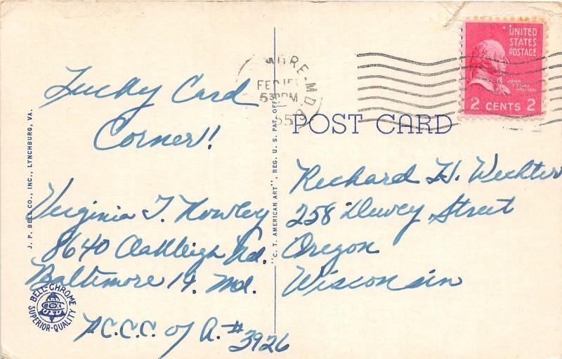 C55/ Lynchburg Virginia Va Postcard 1955 Swimming Pool Miller Park