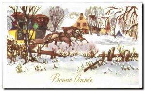 Old Postcard Bonne Annee Fancy Carriages