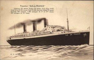 Paquebot Steamship Ile-De-France w/ Stats c1915 Postcard