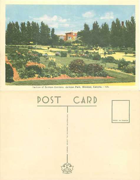 Section of Sunken Gardens, Jackson Park, Windsor, Ontario, Canada, White Border
