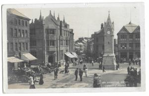 Devonshire St, Penrith RP PPC, 1914 PMK by GP Abraham, Animated Street Scene