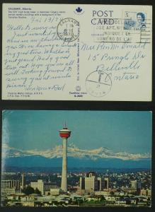 Calgary Husky tower Canadian Rockies pc 1970 Postage due