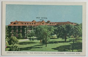 Old White Border Era Postcard, The Great Southern Hotel, Gulfport, MS, Unused