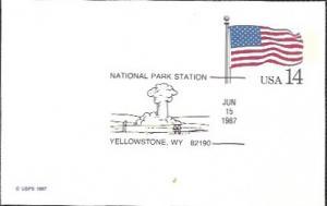 US UX117 Unused. US Flag,  Nat. Park Station - Yellowstone, Wyoming
