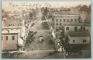 New Glarus Wisconsin~Main Street~Business Store Fronts~Church~Wedding?~1907 RPPC