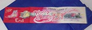 Vtg Vintage 1940's Christmas Card Train Engine Caboose Lantern  #92