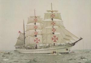 Sagres Portuguese Red Cross Sails Training Ship 1970s Rare Postcard