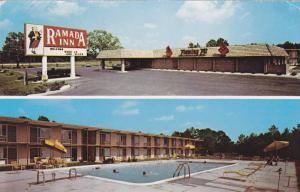 Swimming Pool and front entrance of Ramada Inn, Waltersboro, South Carolina, ...