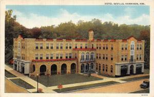 C34/ Harrison Arkansas AR Postcard Linen Hotel Seville Building