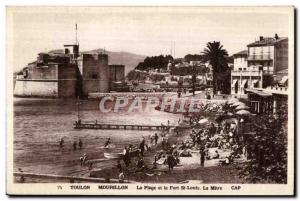 Old Postcard Toulon Mourillon The Beach and Fort St. Louis Miter