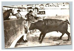 Vintage 1950's Photo Postcard Matador Being Gored Monterrey Mexico