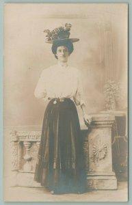 RPPC~Lydia Rensel~Rose Hat~Girdled Waist line~Narrow Face~Studio Shot~c1910 PC