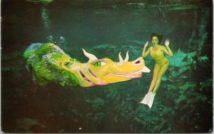 Weeki Wachee Florida FL Wily Willie Dragon Woman Yellow UNUSED Postcard E47