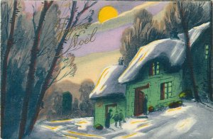 Vintage 1925 New Year winter fantasy landscape nice coloured postcard