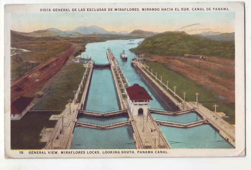 P688 JLs old card panama,miraflores locks looking south the canal, stamped