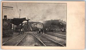 1906 Sebring, Ohio Postcard Bridge Collapse Scene Railroad Tracks People Train