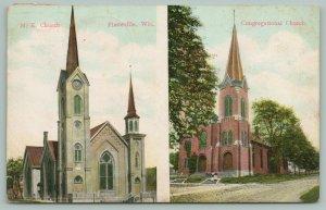 Platteville Wisconsin~Churches~Methodist & Congregational~Dear Friend~c1908 PC