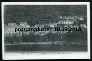 2418 - OCEAN FALLS BC 1930s Apartments & Tennis Courts. Real Photo Postcard