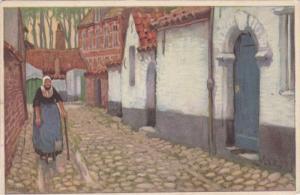 BRUGES, Belgium, 1900-1910's; Painting, Old Woman in Quaint Corner