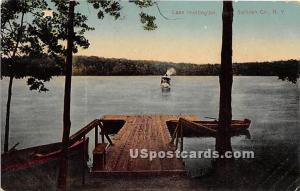 Dock Scene Lake Huntington NY 1911