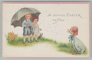 Easter Fantasy~Boy n Girl Under Huge Black Umbrella Stare~Duck In Bonnet~Raining