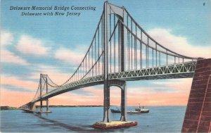 Delaware Memorial Bridge World War 2 Connecting DE-NJ Linen Unused Postcard
