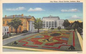 Jackson Mississippi~City Plaza-Floral Garden~Government Buildings~1940 Postcard